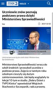 Program TVP Kielce z udziałem mec. Wojciecha Stachowicza-Szczepanika